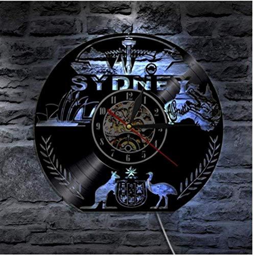 ZCGHGXGJ Sydney Vinyl Wall Clock Skyline Art Clock Led Lighting Clock Travel - Mirrors Custom Bathroom Sydney Made