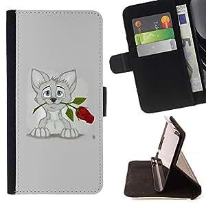 Momo Phone Case / Flip Funda de Cuero Case Cover - Gatito Gato dulce gris del dibujo del arte Rose; - HTC DESIRE 816