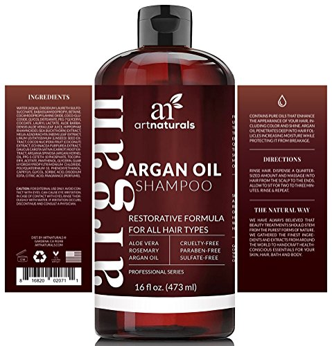 Art Naturals Organic Moroccan Argan-Oil Shampoo - Moisturizing, Volumizing Sulfate Free Shampoo for Women, Men and Teens - Used for Colored and all Hair Types, Anti-Aging Hair Care, 16 Ounce Bottle by ArtNaturals (Image #2)