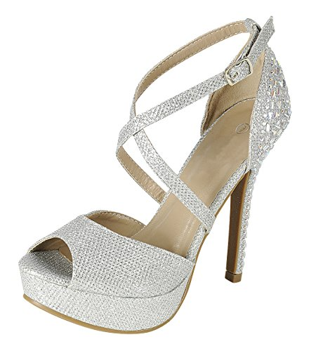 Cambridge Select Women's Peep Toe Crisscross Ankle Strappy Rhinestone Crystal Beaded Platform Stiletto Heel Dress Sandal (9 B(M) US, (Toe Rhinestone Platform)