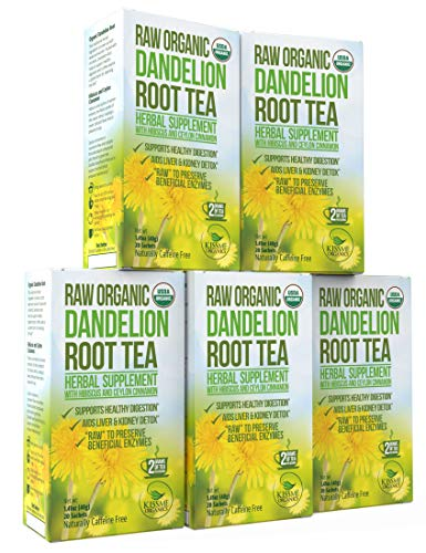 (Dandelion Root Tea Detox Tea - Raw Organic Vitamin Rich Digestive - 5 Pack (100 Bags, 2g Each) - Helps Improve Digestion and Immune System - Anti-inflammatory and Antioxidant)