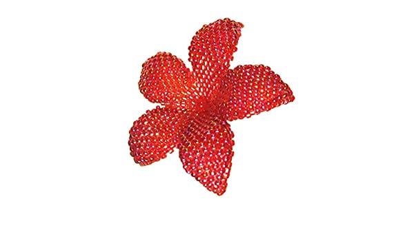 20 Color Choices Heart in Hawaii Beaded Plumeria Flower Brooch Tiny