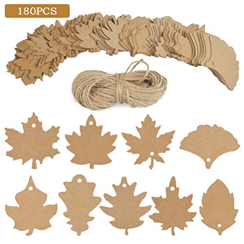 (BUYGOO 180 PCS Favor Tags Gift Tags Place Cards Name Tags Blank Cards Hang Tags Kraft Paper Tags Maple Fall Leaves Shape - 3.2