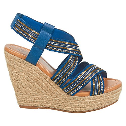 Corelle Women's by Wedge Carlos Fabric Santana Carlos Blue Sandal wFqgg1Iad