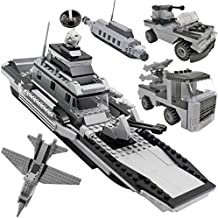 7TECH 8-in-1 Aircraft Carrier Educational Toys Military Building Blocks Air Force Army Navy Construction Set