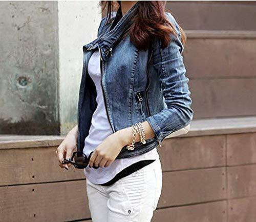 Blu Confortevole Laterali Giovane Con Fit Corto Bavero Jeans Lunga Manica Grazioso Giaccone Stlie Moda Autunno Slim Cappotto Cerniera Giacche Elegante Tasche Donna SHT0x1q
