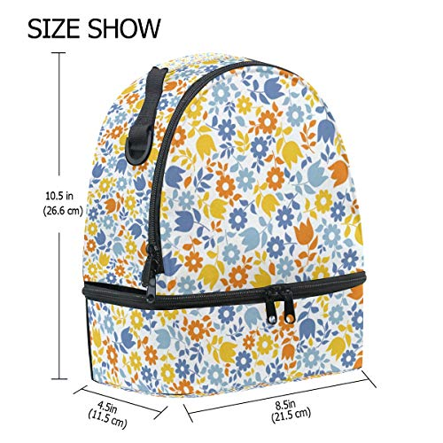 Pincnic verstelbare schouderband School Bag Floral Print Folembly Lunch isolator ZHqgU0B