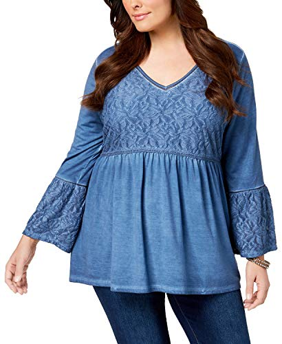 Style & Co. Plus Size Patterned Babydoll Tunic (Industrial Blue, 3X) (Spandex & Style Co . Tunic)