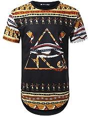 URBANTOPS Mens Hipster Hip Hop Dashiki Graphic Longline T-Shirt (Various Styles)