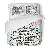 SanChic Duvet Cover Set Lettering Fruit The Spirit Bible Verse Christian Wall Love Brush Decorative Bedding Set 2 Pillow Shams King Size