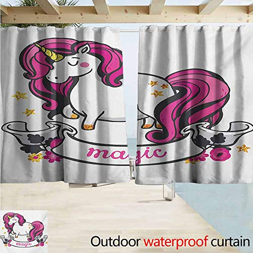(AndyTours Rod Pocket Top Blackout Curtains/Drapes,Unicorn Graphic of Surreal Animal with Long Horn and Hare Symbol of Female Energy Print,Outdoor Privacy Porch Curtains,W55x39L Inches,Pink White )