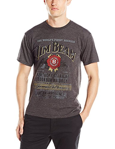Jim Beam Men's Distressed Label T-Shirt, Charcoal Heather, Small