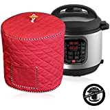Electric Pressure Cooker Cover Decorative Cover With Pocket For Accessories Fits 6QT Instant Pot (Red)