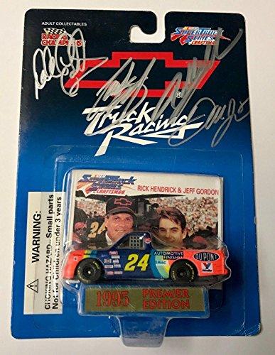 1995 Dale Earnhardt Sr & Jr & Jeff Gordon & Stewart Quad Signed 1/64 Diecast Car - Autographed Diecast Cars ()