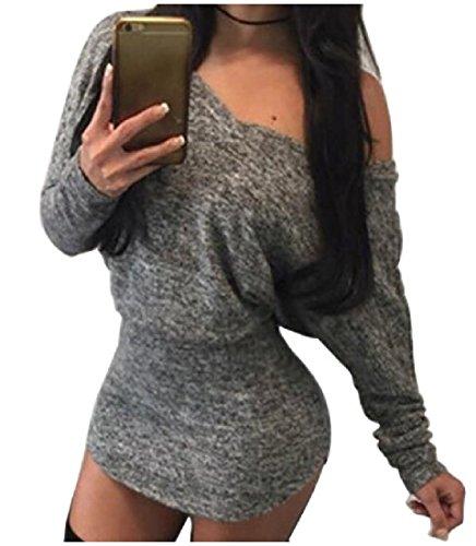 Manches Chauve-souris Coolred De Femmes Sans Bretelles Pull Confortable Mini Robe Sexy Épissures Gris Foncé