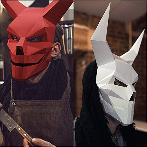 MostaShow 3D Paper Mask Animal Head Molds DIY Handwork Halloween Party Costume Cosplay Party Tricky Funny Masks (Devil-White) ()