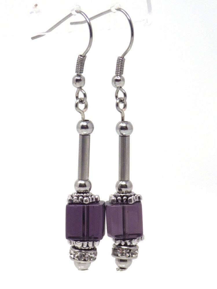 Pendientes de gota de cristal púrpura y strass con tubo de acero inoxidable perlado