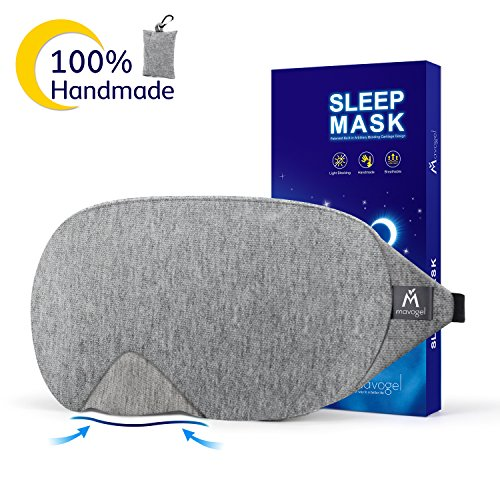 Mavogel Cotton Sleep Eye Mask – Updated Design Light Blocking Sleep Mask, Soft and Comfortable Night Eye Mask for Men Women, Eye Blinder for Travel/Sleeping/Shift Work, Includes Travel Pouch, Grey