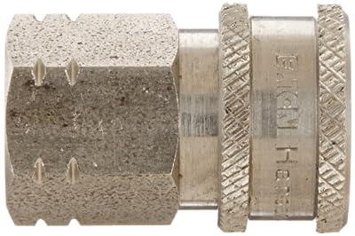 "Eaton Hansen LL1S11BS Stainless Steel 303 Straight Through Ball Lock Hydraulic Fitting, Socket, 1/8""-28 BSPP Female, 1/8"" Port Size, 1/8"" Body"