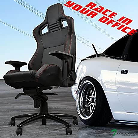 Topline Autopart Black W Red Stitches Pvc Leather Mu Racing Bucket Seat Office Home Game Chair