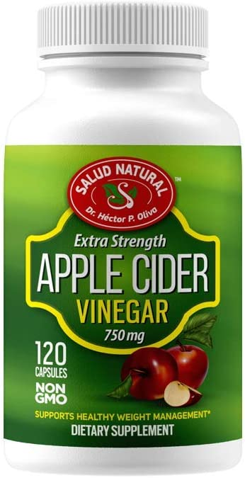 Salud Natural - Apple Cider Vinegar Capsules – ACV Extra Strength Dietary Supplement – Supports Healthy Weight Management, Improves Digestion and Circulation - Non-GMO - 120 Tablets (750 mg)