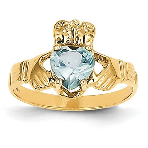 Qgold 14K Gold March Birthstone Synthetic Claddagh Ring (Yellow-Gold)