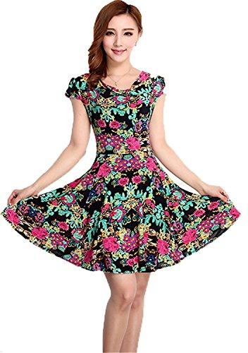 ainrving Women's Elegant Summer Plus Size O Neck Floral Print Party Mini Dress 21X-Large (70s Dress Up Ideas)
