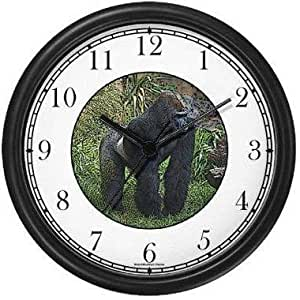 Highland Gorilla - Silver Back (JP6) Wall Clock by WatchBuddy Timepieces (White Frame)