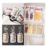 SUGEER 10Pc Preservation Fridge Freezing Food Storage Reusable PE Food Storage Bag - Preservation Container -BPA-Free Preservation Fridge Freezing Jar Bags Fresh Produce Leak Proof Food Saver Bags