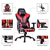 HAPPYGAME Racing Style Gaming Chair - Adjustable Tilt, Swivel and 2-D Arms Ergonomic High-back Leather Executive Computer Office Chair with Lumbar Support and Headrest (Black/Red)