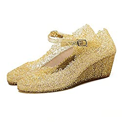Gold Jelly Wedge Crystal Sandal With High Heel