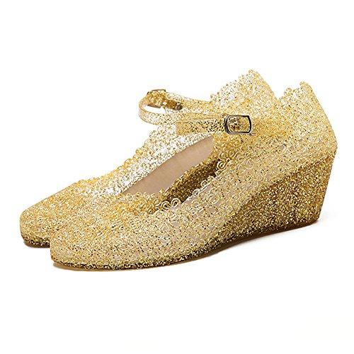 Paul Kevin Women's Jelly Wedge Beach Sandals High Heels Glass Slipper Shoe (US 6 (EU 37), - Chart Glasses Size