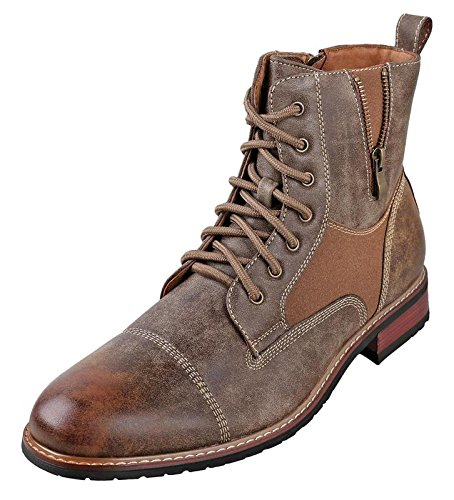 [Ferro Aldo Mens MFA-808561 Lace up Military Combat Ankle Boot, Brown, 8.5 D(M) US] (Mens Brown Combat Boots)