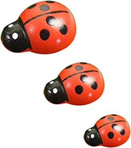 200 Pcs Mini Wooden Ladybugs Stickers with 3 Sizes for Fairy Garden Dollhouse Home Decor