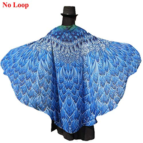Shireake Baby Halloween/Party Prop Soft Fabric Butterfly Wings Shawl Fairy Ladies Nymph Pixie Costume Accessory ... (197 x 130CM, Lake Blue Peacock) -