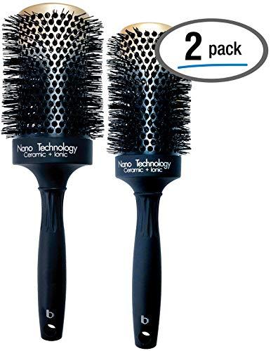 (Hairbrush Set (2 Pcs), Round Ceramic Ionic Nano Technology Hairbrush by Better Beauty Products, XL/2 inch/53mm -AND- XXL/2.5 inch/65mm, Barrel with Nylon Bristles, Professional Salon Brush, Black/Gold)