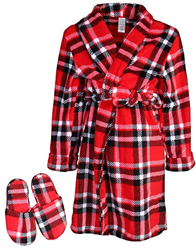 - Too Cool 2 Sleep Boys Printed Robe Slippers, Red Plaid, 14/16'