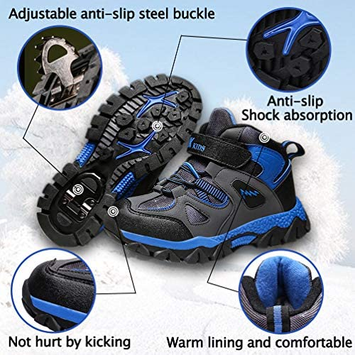 RUMPRA Kids Hiking Shoes Boys Girls Winter Snow Boots Youth Fur Lined Ankle Sneakers Warm