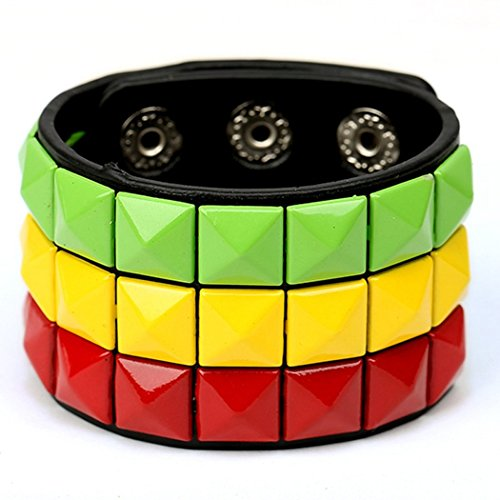 [MORE FUN Fashion Wide Leather Womens Bangle Cuff Bracelet, Color Green & Yellow & Red] (Starter Dance Costumes For Sale)
