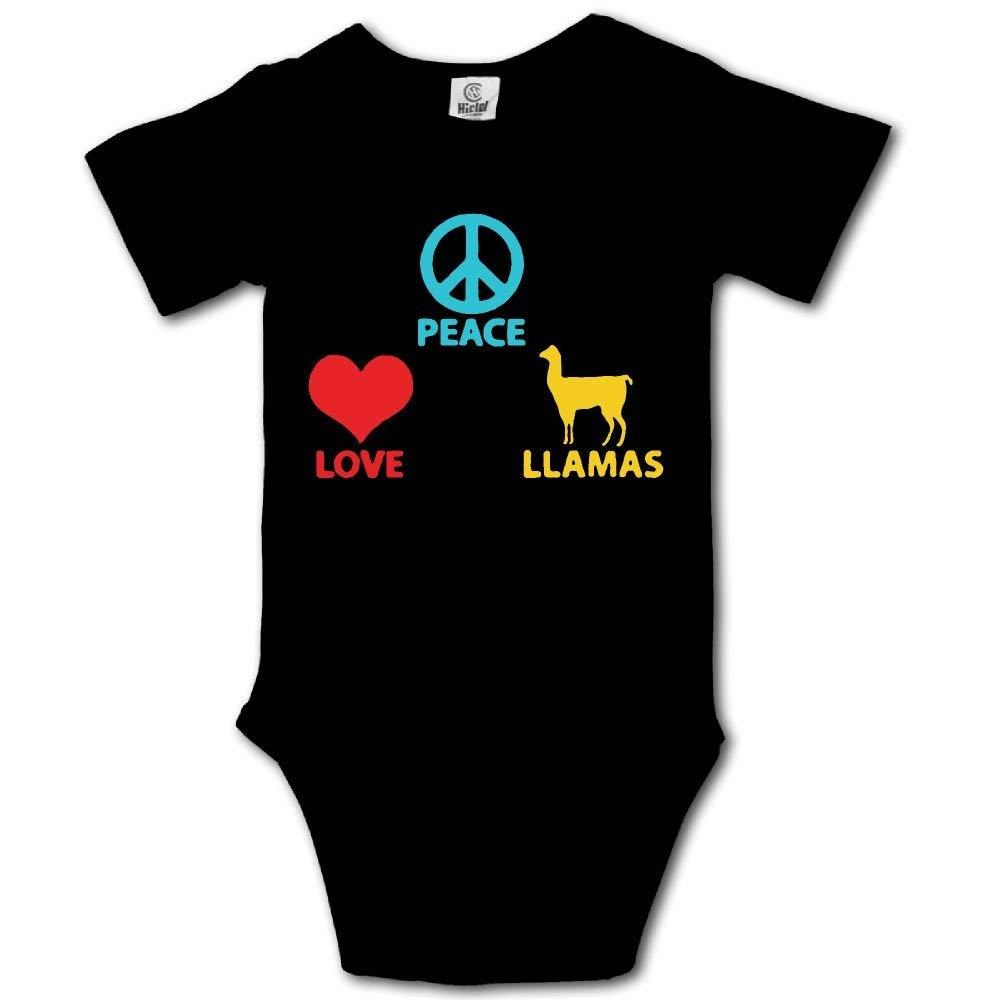 HFJFJSZ Peace Love Llamas1 Short Sleeve Baby Bodysuit Onesies