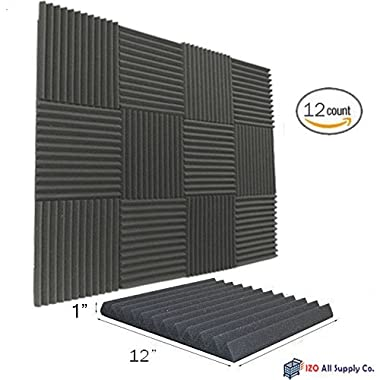 (12 Pk) 1 x12 x12  Soundproofing Foam Acoustic Tiles Studio Foam Sound Wedges