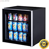 COLIBROX--60 Can Beverage Refrigerator Beer Wine Soda Drink Cooler Mini Fridge Glass Door. beer bottle refrigerator. commercial beverage cooler glass door. glass door refrigerator residential.