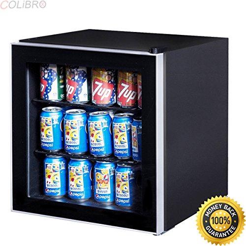 COLIBROX--60 Can Beverage Refrigerator Beer Wine Soda Drink Cooler Mini Fridge Glass Door. beer bottle refrigerator. commercial beverage cooler glass door. glass door refrigerator residential.