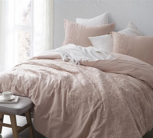 Baroque Stitch Queen Comforter - Ice Pink/Fawn Embroidery