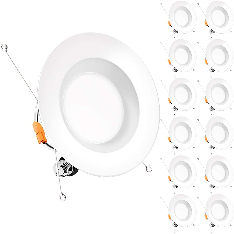 Bbounder (12 pack) 5/6 inch LED Dimmable Recessed Lighting, Retrofit Downlight with Smooth Trim, 3000K WarmWhite, 12W=100W, 1000LM, Simple Retrofit Installation, IC rated No Flicker, Energy Star & ETL