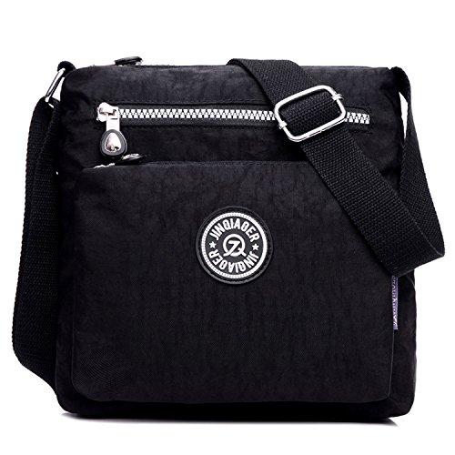 Bag Body Shoulder Girls Sport Bag Black Lightweight Waterproof Bag Satchel Women for Messenger Cross Fashion Travel Outreo EYqxTT