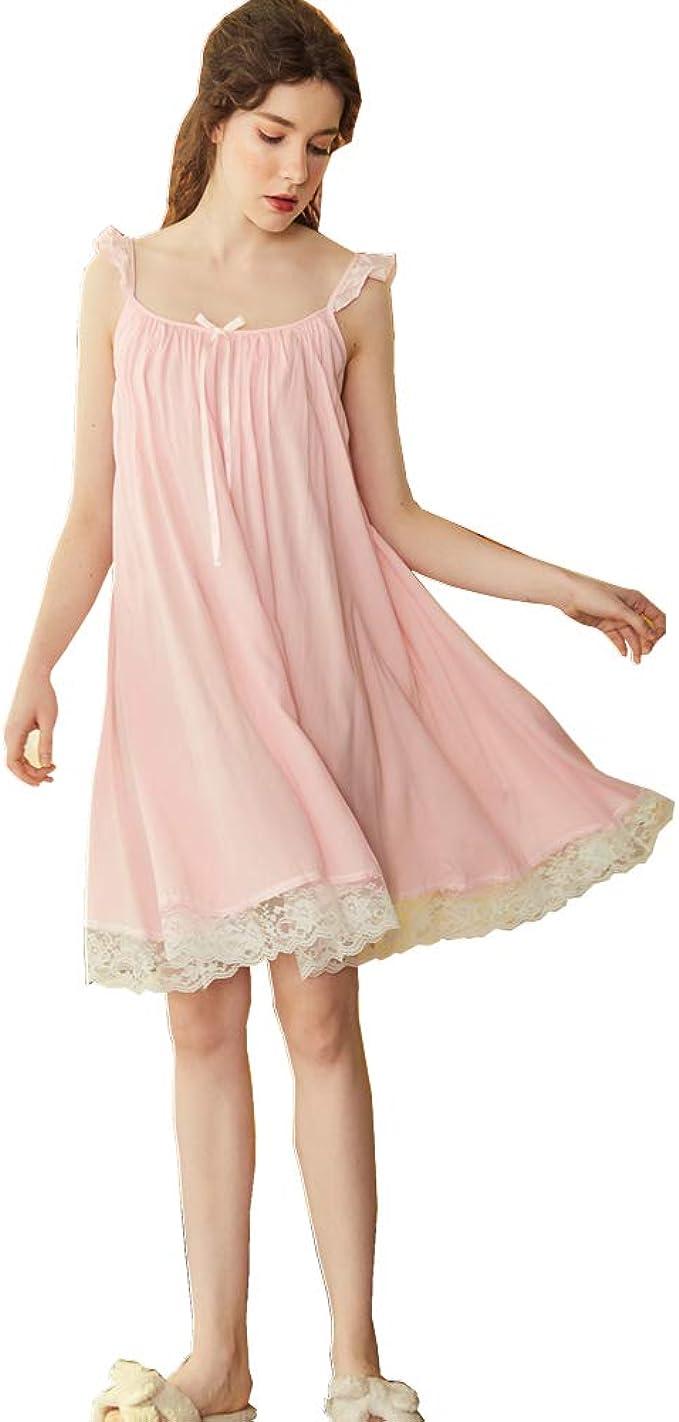 Flaydigo Nachthemd Damen Lang Ärmellos Nachthemden Baumwolle Nachtwäsche  Schlaf Kleid Locker Viktorianischer Stil Nachtkleid Weiß Weiss Rosa Blau