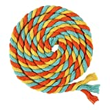 ULTNICE 100m Multicolor 3-Ply Twisted Cotton Rope Cotton Cord String for DIY Arts Crafts(Orange Sky Blue Yellow)