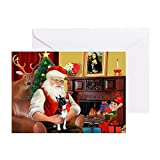 CafePress - Santas Boston T - Greeting Card (20-pack), Note Card with Blank Inside, Birthday Card Glossy