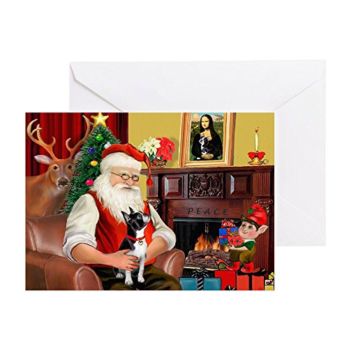CafePress Santas Boston T Greeting Card (20-pack), Note Card with Blank Inside, Birthday Card Glossy Boston Terrier Christmas Cards